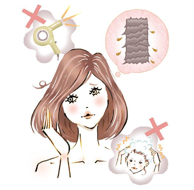 髪の傷みが大きな原因。ダメージを回復させて