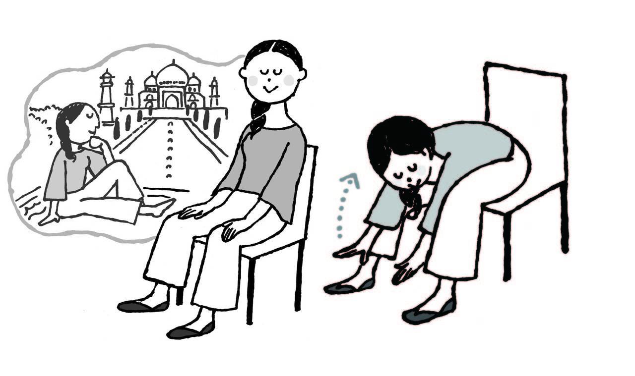 首&肩コリ即解消!イスで3分「重力オフのポーズ」&「めぐりアップ瞑想」|からだにいいことWeb