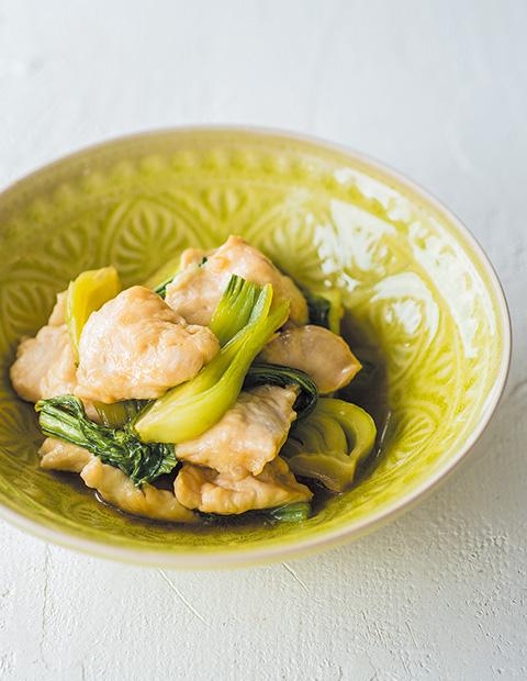 鶏むね肉とちんげん菜の甘酢炒め