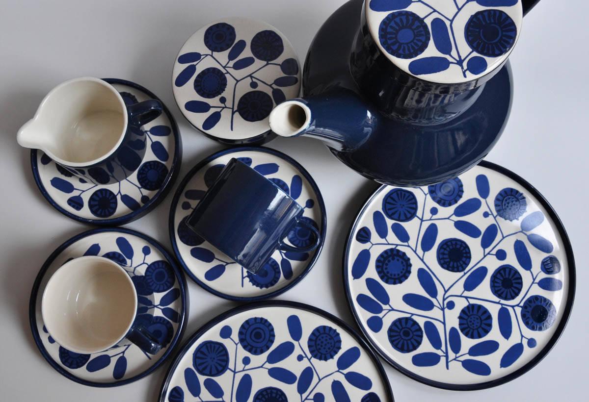 Melitta kaffeesurvice(價格各異)1970年代的藍紋咖 啡杯組。