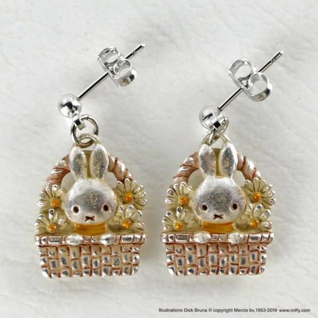 商品名:米飛兔花籃 耳針式耳環 / 耳夾式耳環
