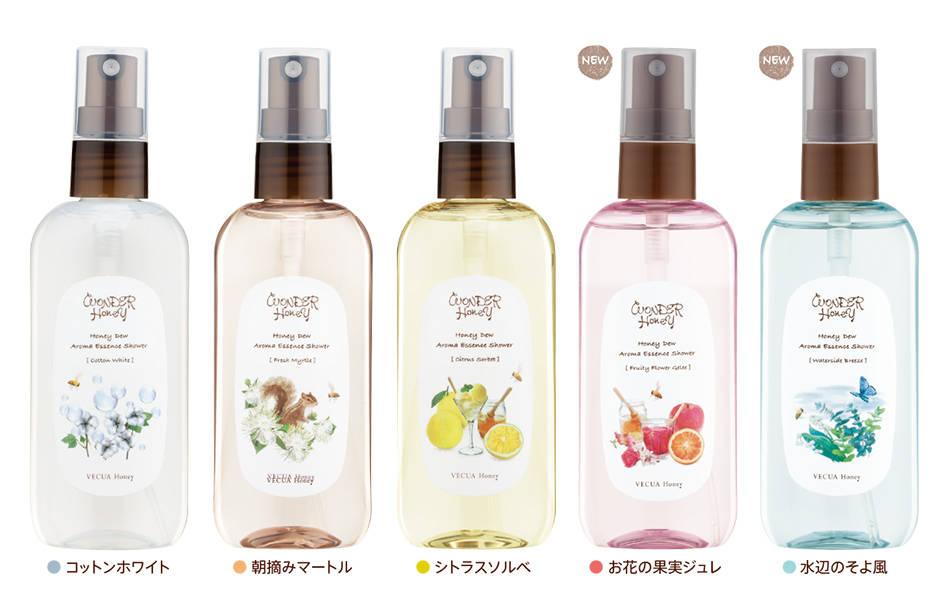 ■Wonder Honey芳香精華噴霧<身體・髮型用化妝水> 5種/ 100 ml /各1,200日圓(不含稅)