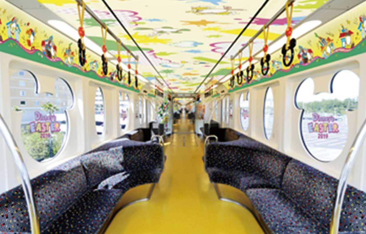 使用東京迪士尼樂園設計的「迪士尼復活節彩繪列車」內裝示意圖