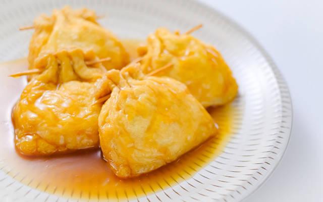 豆腐と鶏肉餡の袋煮