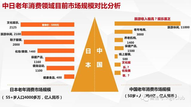 中高年層の消費に関する日中市場規模比較