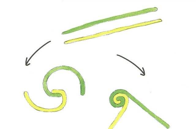 (3)丸めたねんどを細長く伸ばし、組み合わせて端から内...