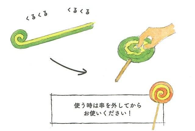 (4)最後に棒を刺して形を整え、巻いたねんどが崩れない...