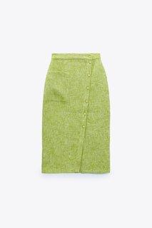 ハイウエストスカート、フロントにパッチポケット、フロン...