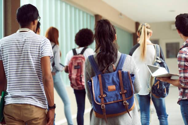 Students walking in school ...