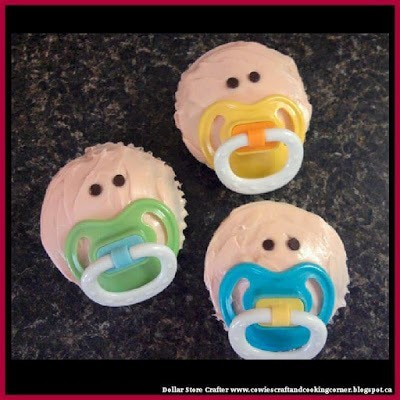 Dollar Store Crafter: Make These Adorable Baby Shower Cupcakes Using Dollar Store Pacifiers by DollarStoreCrafter | WHI (11500)
