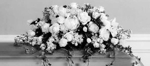 black and white, funeral, and flowers by Dark Flower | WHI (13770)
