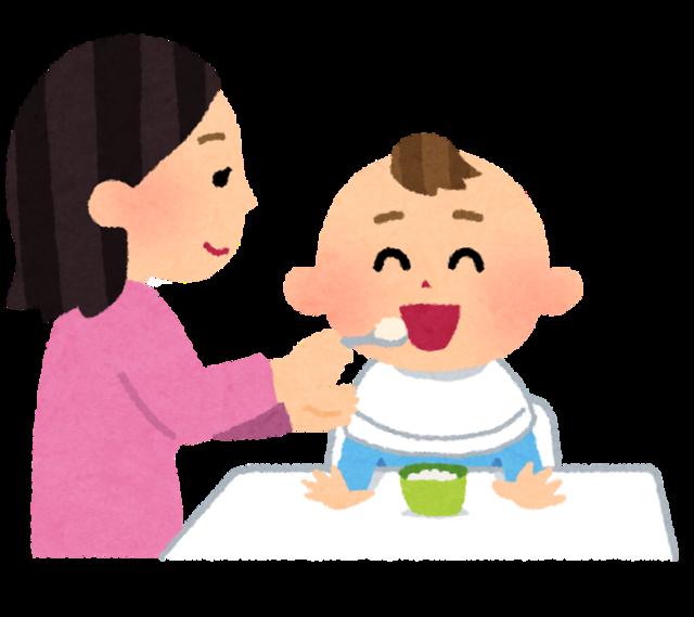 赤ちゃんに離乳食を食べさせているお母さんのイラスト | かわいいフリー素材集 いらすとや (18200)