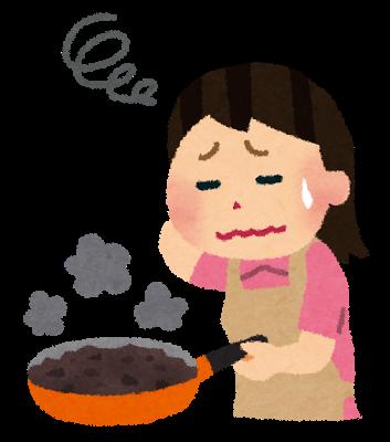 料理に失敗した女性のイラスト | かわいいフリー素材集 いらすとや (44865)