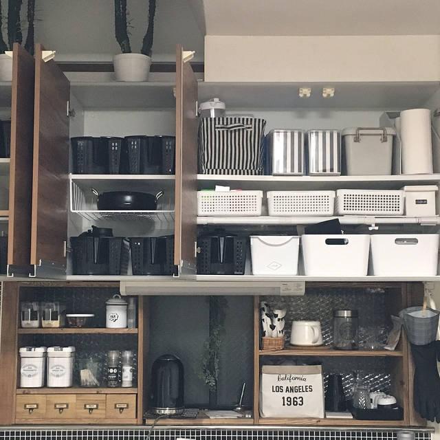 キッチン棚/収納/白黒病/コーヒー/ビン収納/スリーコ...