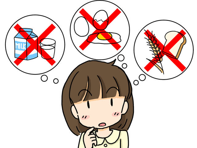 食物アレルギーについて考える女の子イラスト/無料イラストなら「イラストAC」 (100198)