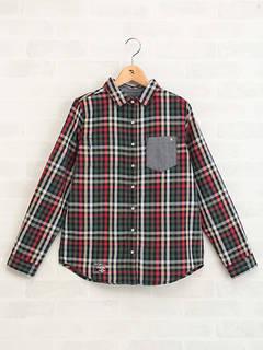 鮮やかなパーマーチェック柄のシャツブラウス。胸ポケット...
