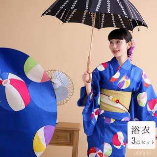 【utatane 高級変わり織り浴衣3点セット レトロ...