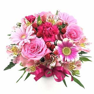 Amazon|HanaDokoroかんも屋特製 『笑み花』 フラワーアレンジ フラワーギフト ピンク系 手書きメッセージカード お誕生日 お祝い ギフト プレゼントに最適|フラワーアレンジメント オンライン通販 (123193)