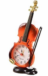 Amazon|【morningplace】バイオリン 風 目覚まし時計 お洒落 クラシック デザイン インテリア に (ブラウン)|置き時計・掛け時計 オンライン通販 (131706)