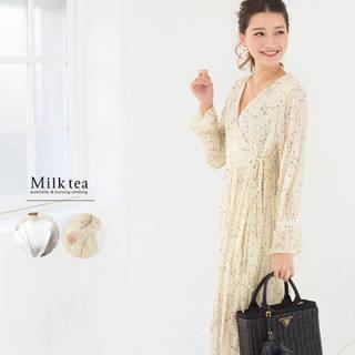 美しく透明感溢れるギャザー加工シフォンの授乳服ワンピース