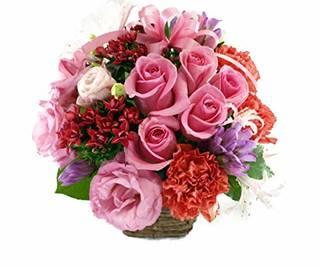 Amazon|5本のバラと季節のお花のリボンアレンジメント|フラワーアレンジメント オンライン通販 (141240)