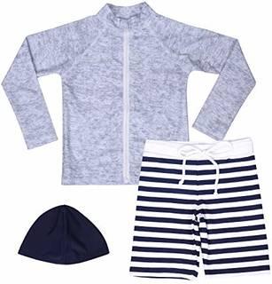 Amazon.co.jp: 【Asbrio】水着 男の子 UPF50+ ボーダー柄パンツ グレーラッシュガード 帽子 90〜140cm (90): ベビー&マタニティ (143700)