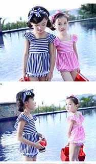 Amazon | HYSENM 水着 ガールズ かわいい 子供 女の子 ストライプ ワンピース パンツあり ヘアバンド付き ビーチ 海遊び 夏 3-4歳から9-10歳まで | 水着 通販 (143810)