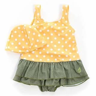 Amazon | 子供 水着 女の子 sandia(サンディア) イエロードットティアード ワンピースキャップ付き | 水着 通販 (143814)