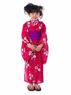 Amazon | [キョウエツ] 浴衣セット こども 紅梅織り 2点セット(浴衣、兵児帯) gp ガールズ (100, C.桜-濃ピンク×兵児帯:紫ピンク) | 着物・浴衣 通販 (144666)