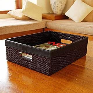 Amazon|【アジア工房】パンダンで編まれた四角いポイントレザーの収納ボックス[10487] [並行輸入品]|収納ケース・ボックス オンライン通販 (145537)