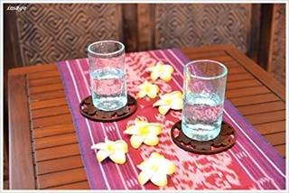 Amazon|MANJA Woo-0474 バリ雑貨 チークコースタープルメリア アジアン雑貨 卓上用品 ディスプレイ ティー アジアンテイスト 花 壁掛け|コースター オンライン通販 (145551)
