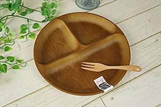 Amazon|PET樹脂 25cm ランチプレート 丸型 丸 木目調 ブラウン 茶 (146537)