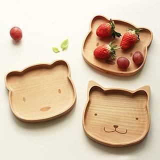 Amazon | ランチプレート 子供食器 キッズ食器 子供用 皿 木製 動物(ねこ) (146539)