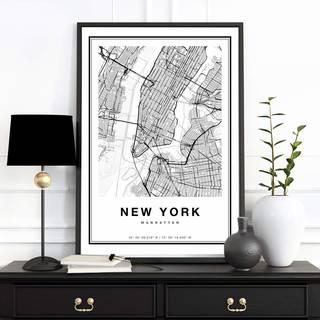 Amazon|ポスター B2 ニューヨーク 地図 NY NewYork モノクロ モノトーン おしゃれ かっこいい マンハッタン|街並 オンライン通販 (162263)