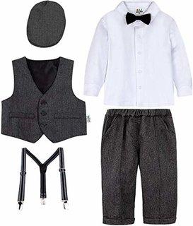 Amazon | BECOS フォーマル 男の子 子供服 紳士服 スーツ お宮参り 結婚式 帽子付き (ダークグレー, 110) | フォーマル 通販 (165454)