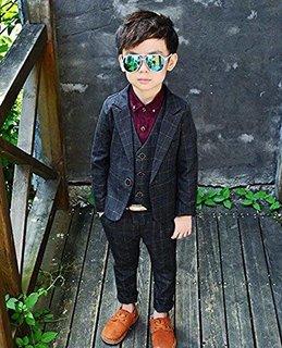 Amazon | (チェリーレッド)CherryRed 男の子 チェック柄 かっこいい フォーマル スーツ 3点セット | フォーマル 通販 (165457)