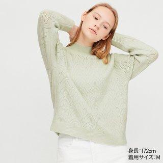 ユニクロ|ライトスフレヤーンポインテールクルーネックセーター(長袖)|WOMEN(レディース)|公式オンラインストア(通販サイト) (170032)