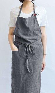Amazon|【Oguriyamasha】エプロン リネン 麻 レディース メンズ 男女兼用 グレー|エプロン オンライン通販 (172999)
