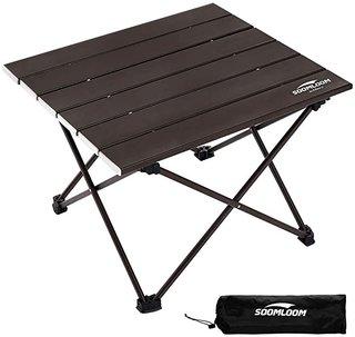 Amazon | soomloom キャンプ テーブル アウトドアテーブル アルミニウム合金製 超軽量 折畳式 耐荷重30㎏ 収納ケース付き (ブラウン) | soomloom outdoor | テーブル (174068)