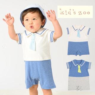 【楽天市場】【子供服】 kids zoo (キッズズー) セーラーカラーオール・ロンパース 70cm,80cm W32700:こどもの森 e-shop メーカー直営 (175412)