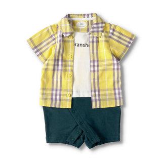 チェックシャツ重ね着風半袖カバーオール 01-0239-329 2001000016174 |子供服&ベビー服 ブランシェス 公式通販オンラインショップ (175415)
