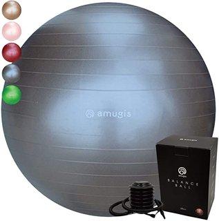 Amazon | amugis バランスボール ヨガボール 65cm アンチバースト 耐荷重500KG 椅子 腰痛予防 ダイエット フットポンプ付き (charcoal/チャコール) | amugis(アミュジス) | スポーツ&アウトドア (176128)