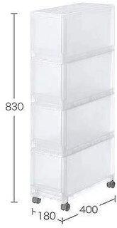 Amazon|無印良品 PPストッカー4段キャスター付 幅18×奥行40×高さ83cm|収納ケース・ボックス オンライン通販 (177219)