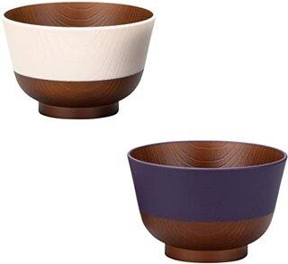 Amazon | カノー 汁椀 茄子紺/桜色 330ml 日本伝統色 2色入 (178432)