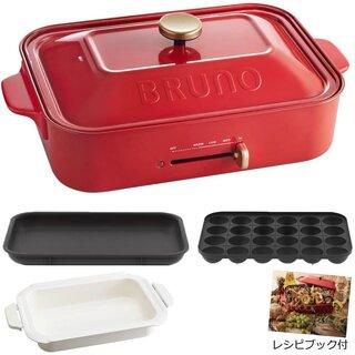 Amazon | BRUNO ブルーノ コンパクトホットプレート 本体 プレート3種 (たこ焼き セラミックコート鍋 平面) レシピブック 付き レッド Red 赤 おすすめ おしゃれ かわいい これ1台 一台 蓋 ふた付き 1200w 温度調節 洗いやすい 1人 2人 3人用 小型 ひとり暮らし にも A4 サイズ BOE021-RD 1700330 | BRUNO | ホットプレート (181388)