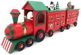 Amazon | Wooden Advent Calendar 24引き出しとクリスマスの装飾のための一般的な木製アドベントカレンダー列車 (61x10x20cmH, Colorful) | クリスマス雑貨 | おもちゃ (187960)
