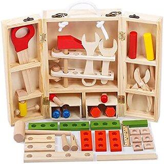 Amazon | JUST style 【国内検査済 たっぷり38パーツ】男の子のおもちゃ 積み木 知育玩具 で おままごと 「はじめての大工さん」 (188162)