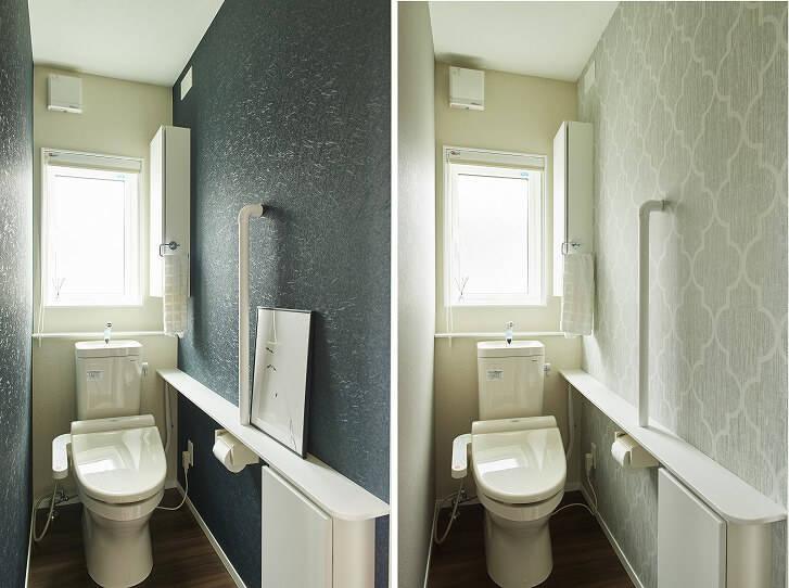 (左)Re壁前と、(右)Re壁後のトイレ。爽やかな色合いで明るい印象になった