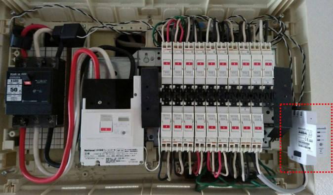 小さなセンサー(上記図の赤枠)を分電盤に設置するとクラウドで家電利用状況を解析してくれる