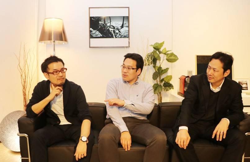 プロジェクトのメインメンバーの森下浩充さん(左)と谷口旭さん(中)と辻敦宏さん(右)